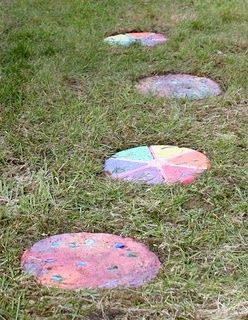 Homemade stepping stonesmix concrete and paint when dry fun homemade stepping stonesmix concrete and paint when dry fun workwithnaturefo