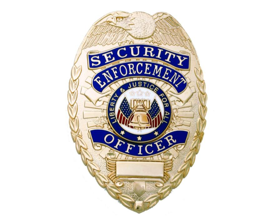 First Class Security Enforcement Officer Gold Shield Badge Security Badge Security Companies Badge