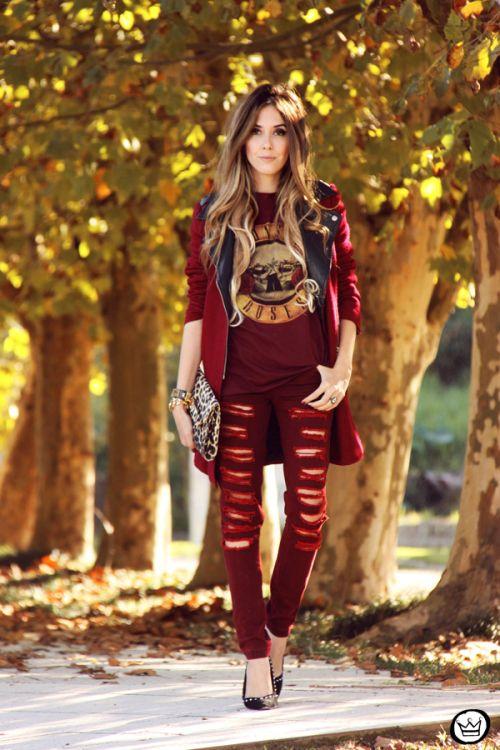FashionCoolture - burgundy jeans rocker
