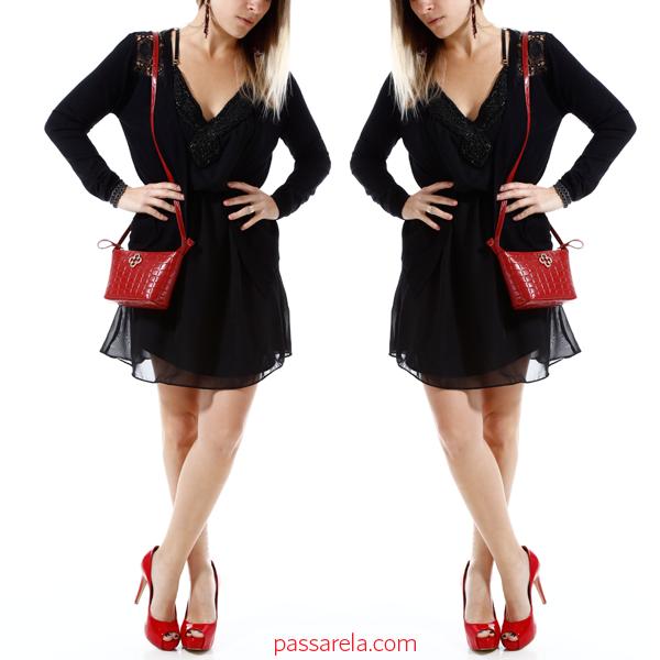 76af34927 Vestido Preto... Bolsa e Sapato Vermelho! | Look Completo de Saia e ...