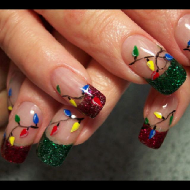 Christmas nail art Nails Pinterest Light nails, Makeup and