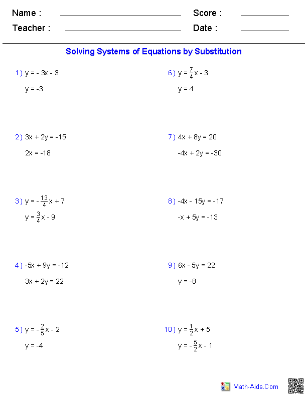 Solving Two Variable Systems Of Equations Worksheets Tutoring