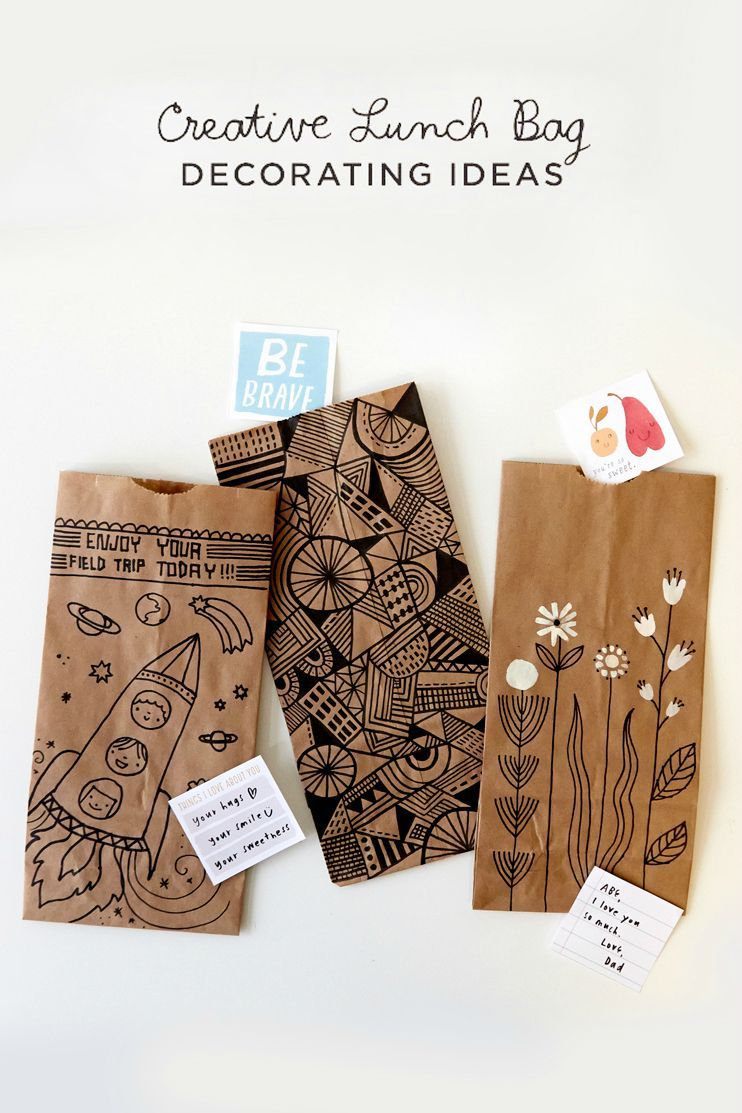 Back To School With Creative Lunch Bags And Totes Think Make Share Paper Bag Crafts Purse Crafts Paper Bag Design