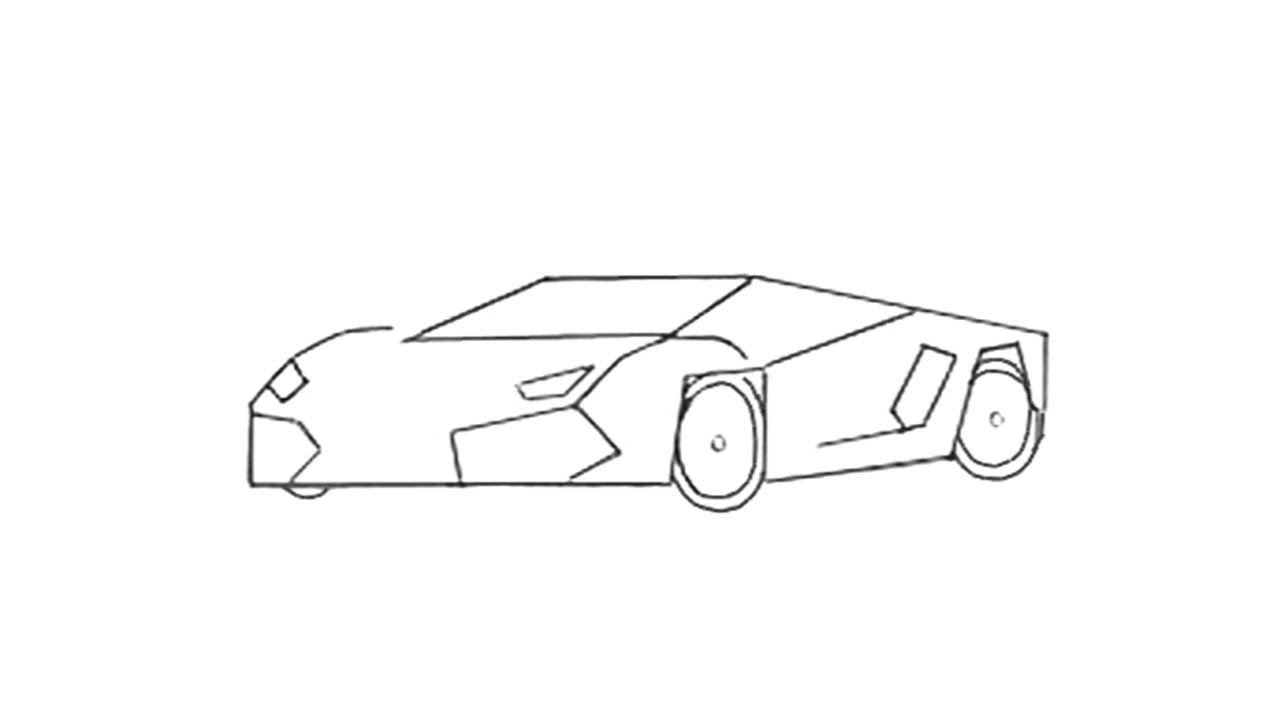 How To Draw A Sports Car Step By Step Car Drawing Easy Easy Drawings Cool Car Drawings