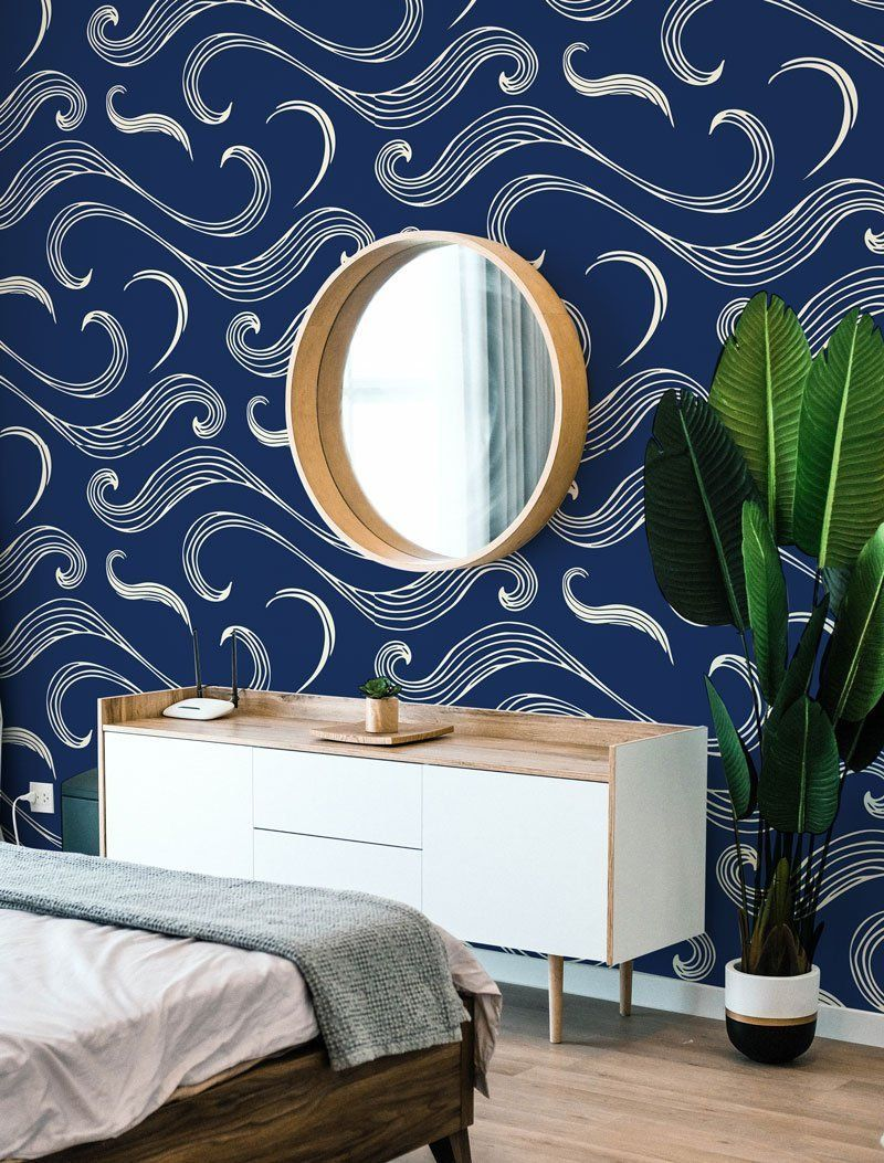 Japanese Waves Removable Wallpaper Japanese Removable Wallpaper Waves In 2020 Removable Wallpaper Bathroom Waves Wallpaper Removable Wallpaper