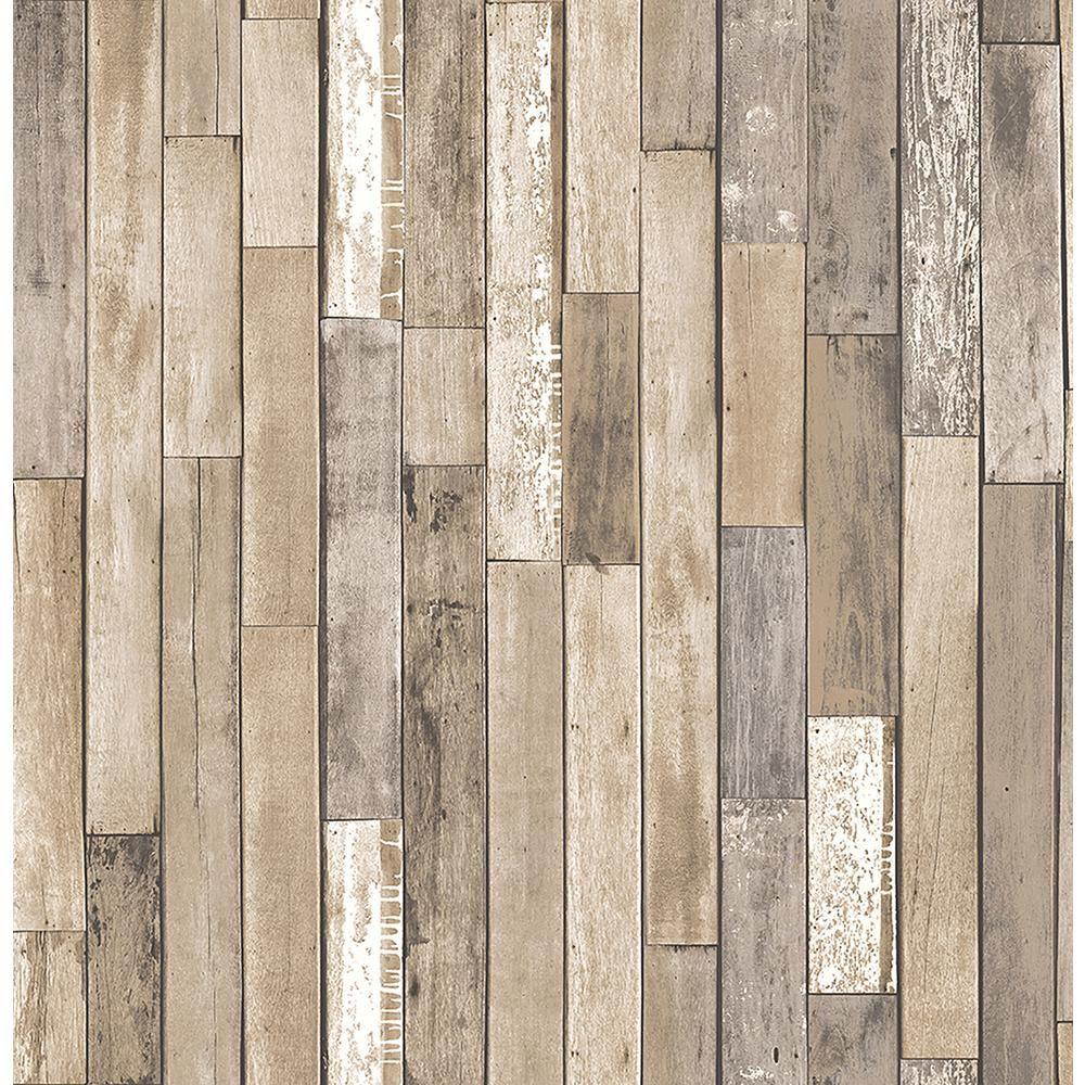 Brewster Barn Board Brown Thin Plank Wallpaper Sample