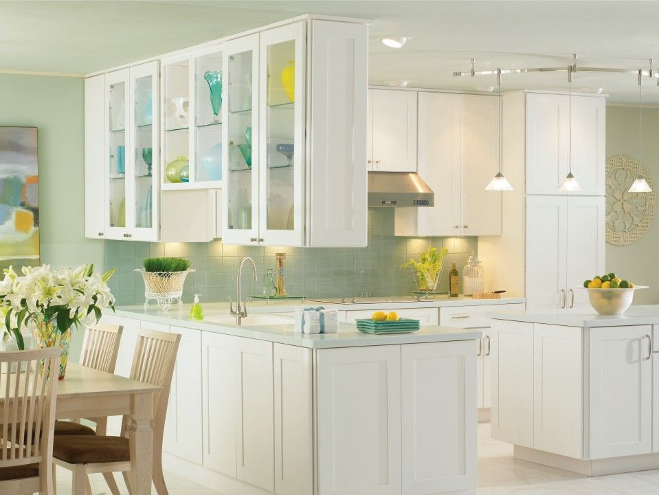 Eden Maple White Kitchen By Thomasville Cabinetry Featuring Glass