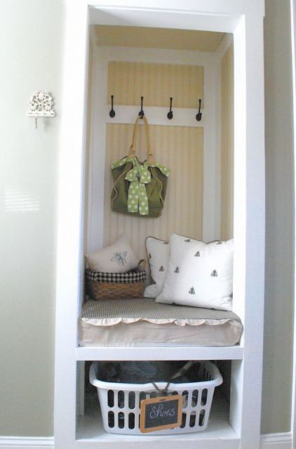 great idea for a mudroom from a closet, perfect for a small apartment