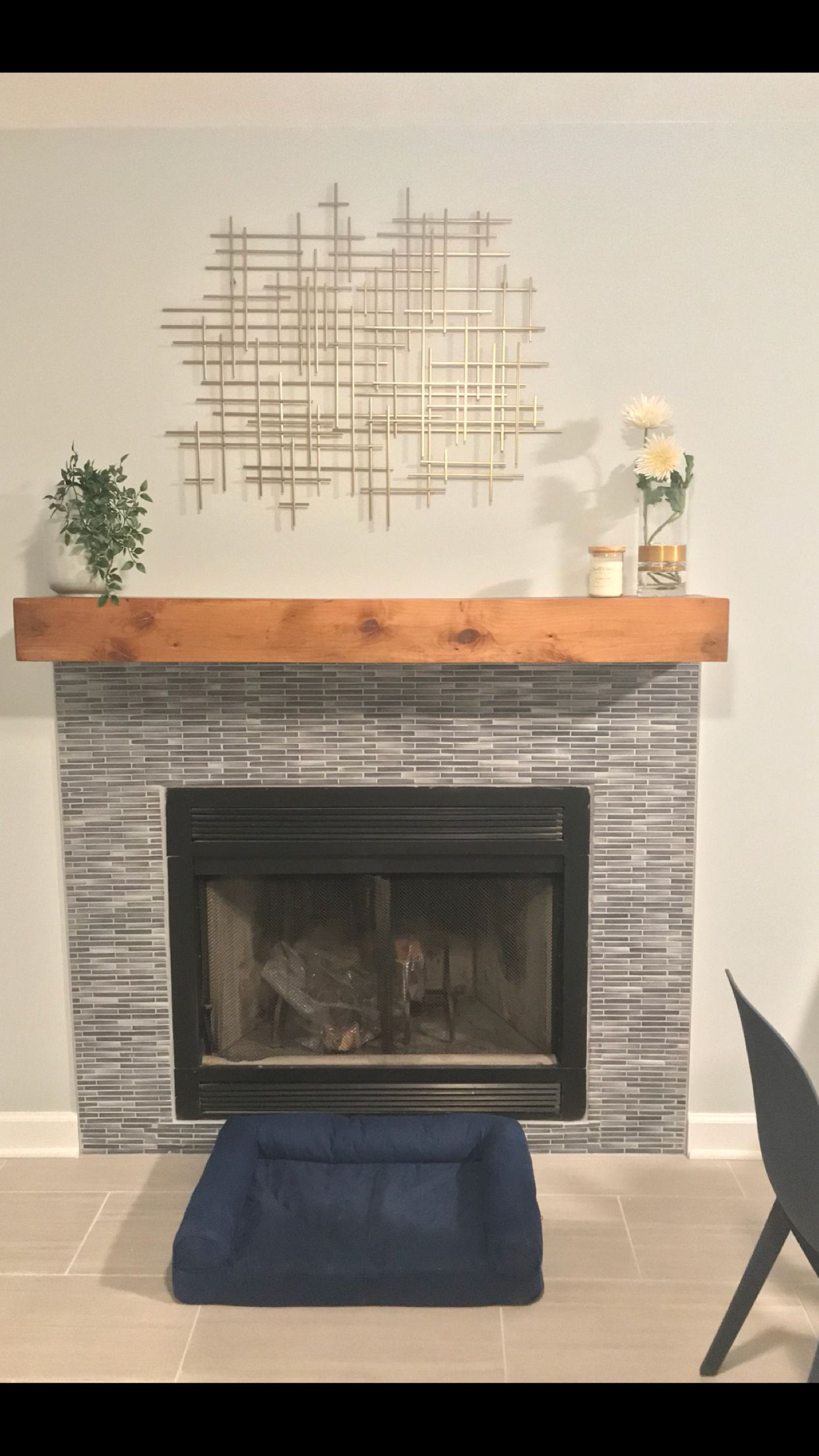 Floating Mantle With Mosaic Tile Fireplace Refresh