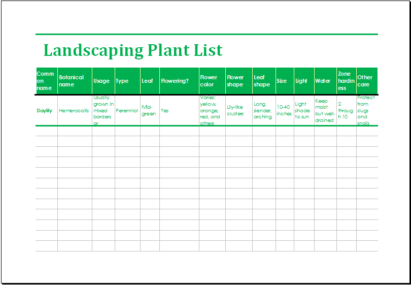 Landscaping Plant List Template Ms Excel Excel Templates Plant List Landscape Maintenance Landscaping Plants