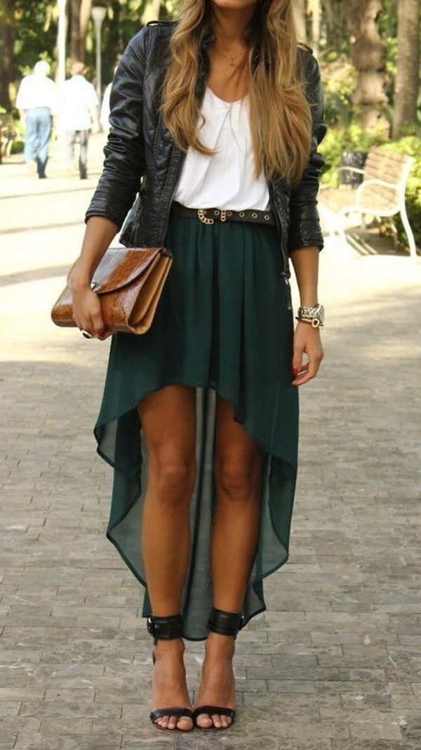 my favorite type of dress with high-low skirt   like bohemian look with chic leather jacket