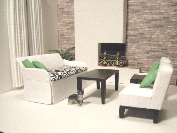 cool 12 scale dollhouse living room set | Made-to-order Modern Dollhouse Living Room Set in 1:12 ...