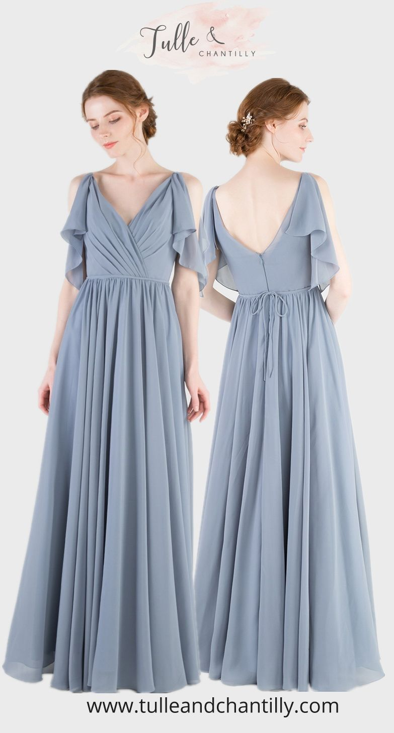V Neck Long Chiffon Bridesmaid Dress With Flutter Sleeves Tbqp466 Dusty Blue Bridesmaid Dresses Blue Chiffon Dresses Bridesmaid Dresses Long Chiffon