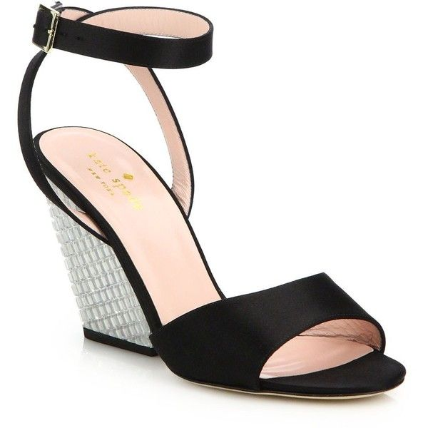kate spade new york Isadora Satin Jeweled Wedge Sandals (485 PEN) ❤ liked on Polyvore featuring shoes, sandals, apparel & accessories, black, kate spade sandals, jeweled sandals, wedge heel sandals, wrap sandals and wedges shoes