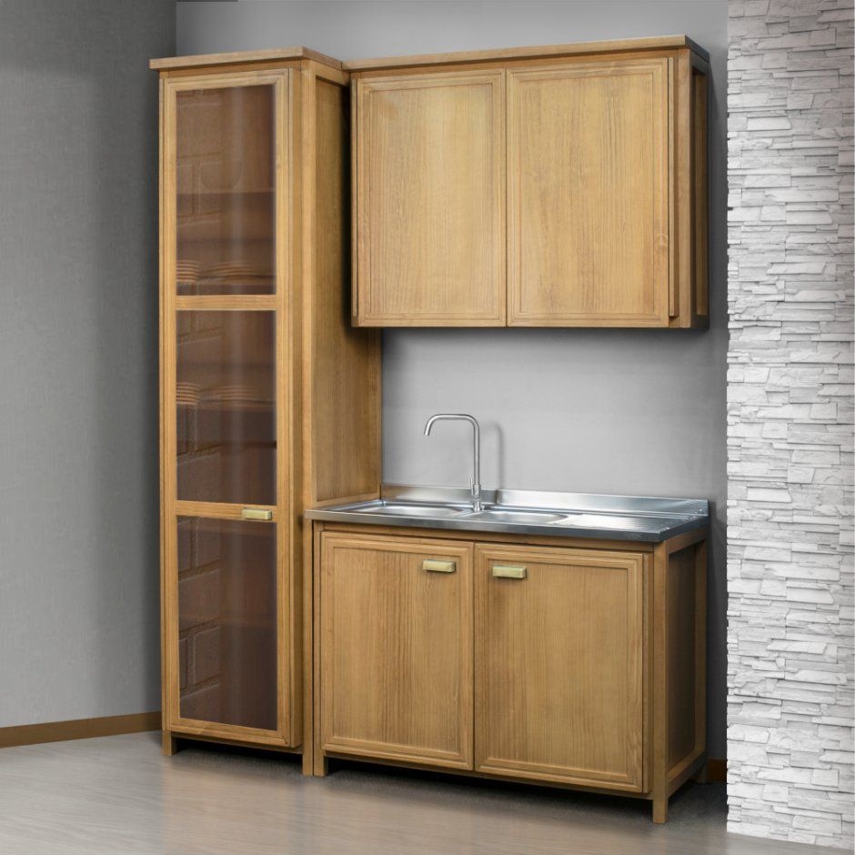 Cozinha Modulada Compacta Em Madeira Macica 3 Pcs Marselha