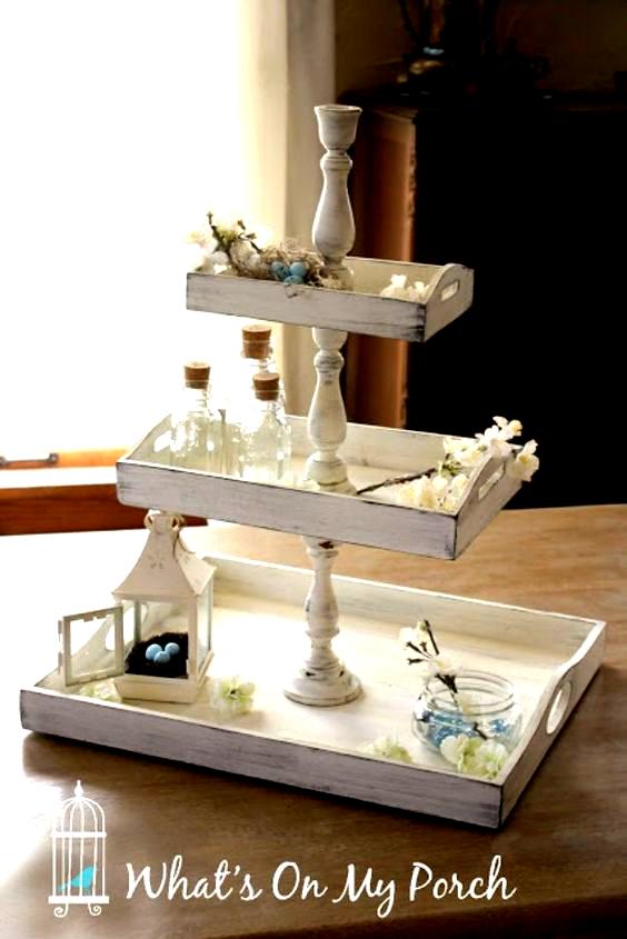 Diy Vanity Trays Shabby Chic 3 Tiered Tray Easy Homemade In 2020 Diy Tray Tray Decor Tiered Tray Decor