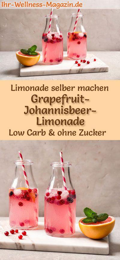 Grapefruit-Johannisbeer-Limonade selber machen - Low Carb & ohne Zucker