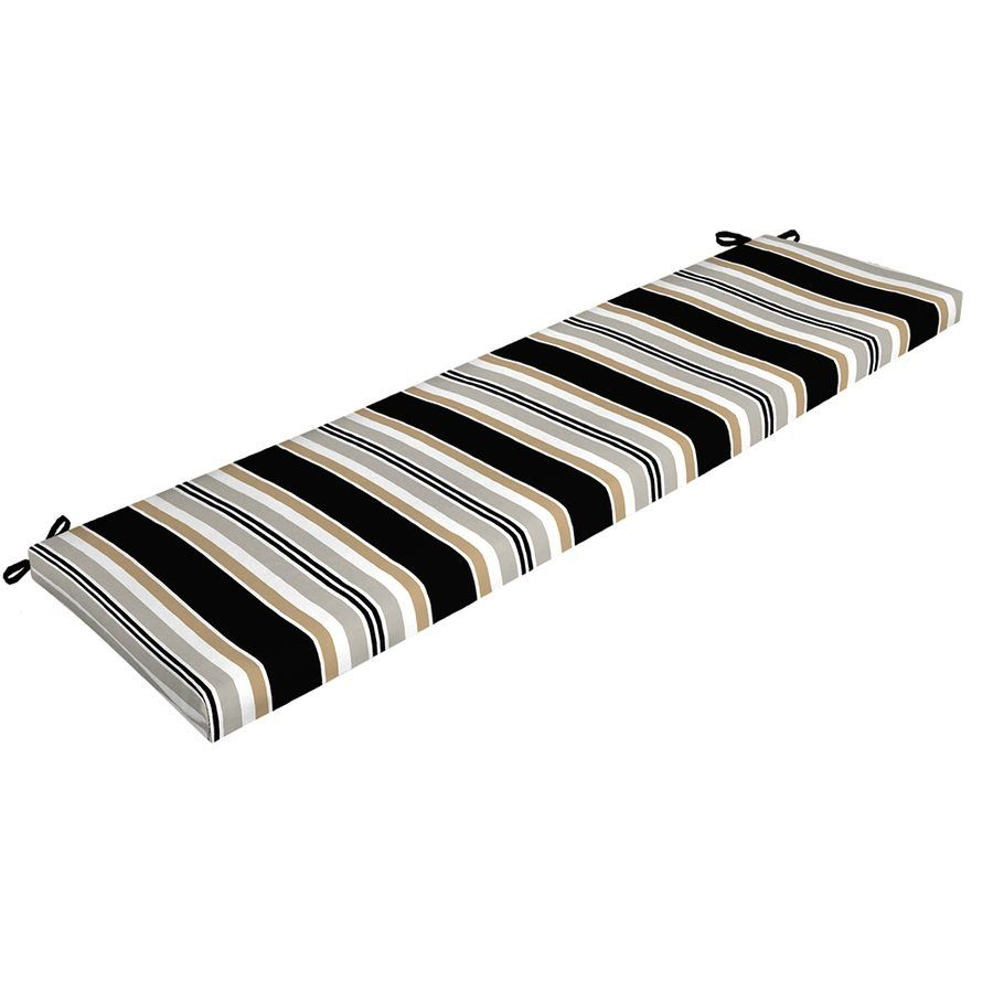 Captivating Shop Garden Treasures Black/Grey Striped Bench Cushion At Loweu0027s Canada.  Find Our Selection