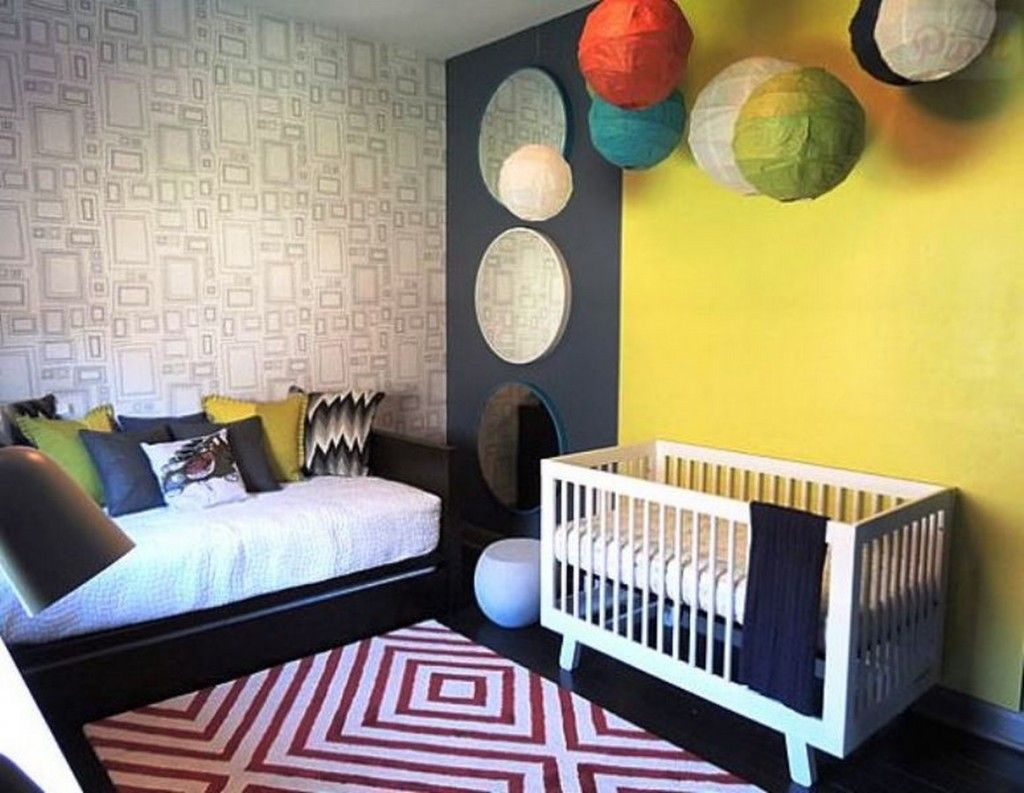 Modern Nursery With Guest Room Sleeping Space And Geometric ...