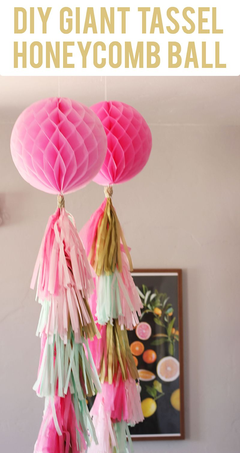 Diy Giant Tassel Honeycomb Ball Decorations This Is Such A Cute Baby Shower Or Bridal Shower Id Paper Party Decorations Diy Party Crafts Backdrops For Parties
