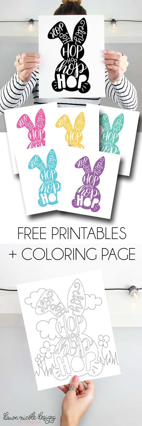 typographic easter bunny free printables  coloring page