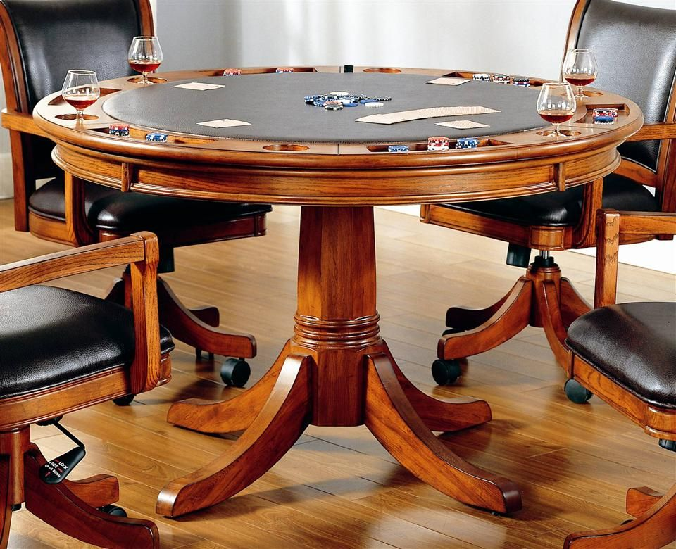 Park View 2in1 Poker Dining Table in Medium Brown Oak