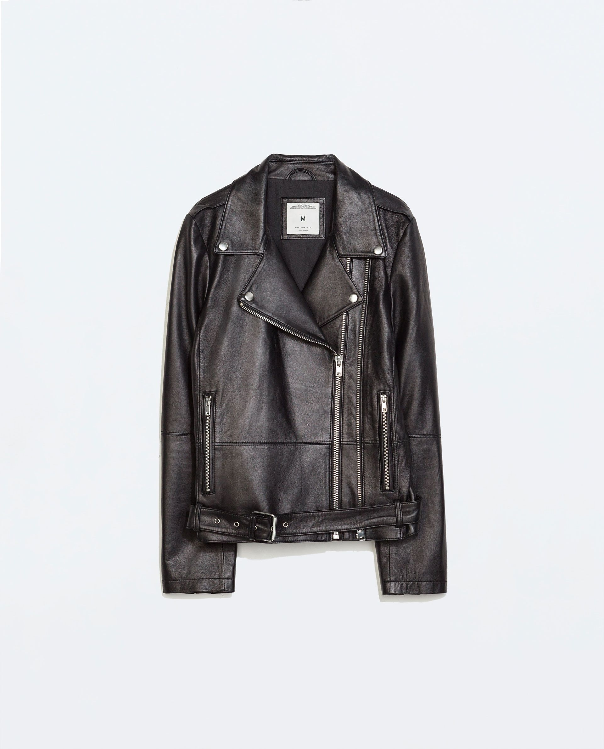 ZARA - COLLECTION SS15 - ZIPPED LEATHER BIKER JACKET