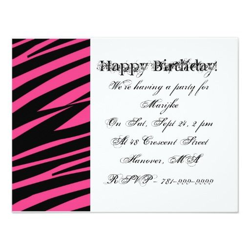 KRW Girl's Pink Zebra Print Hearts Stars Birthday Invitations