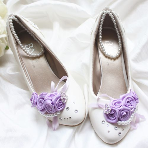 White Pearl Ankle Strap Purple Flat Low High Heel Wedding Bridal Shoes SKU 1091081
