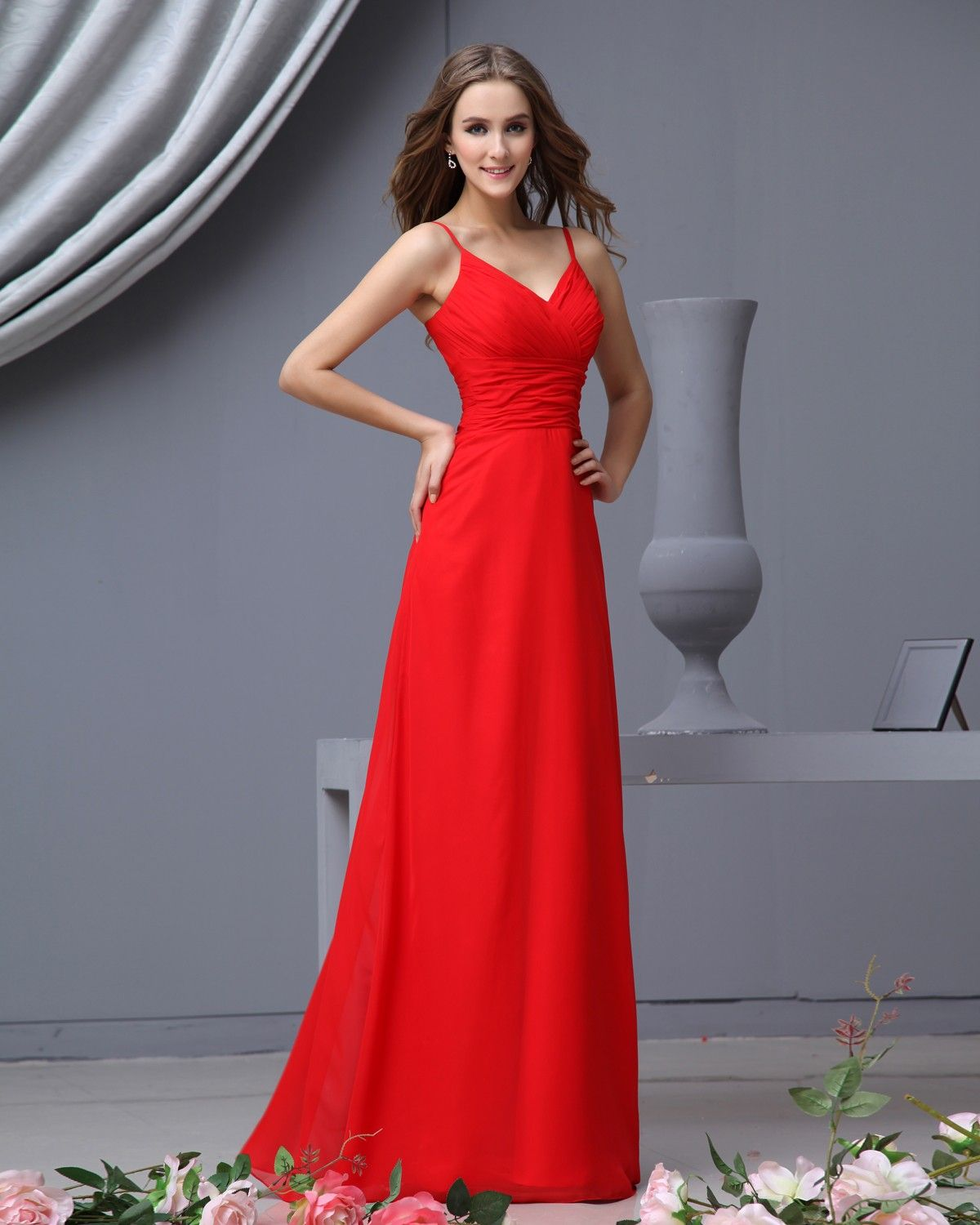 Spaghetti Straps A Line Chiffon Red Long Bridesmaid Dresses ...