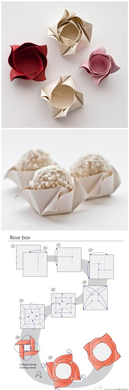 rose box origami holder cup