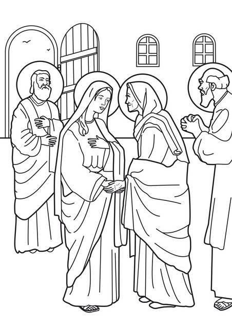 Image coloring virgin mary visit to elizabeth for Mary visits elizabeth coloring page
