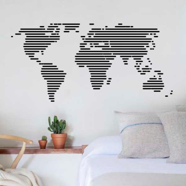 stripe world map wall sticker | wall sticker | wall stickers, wall