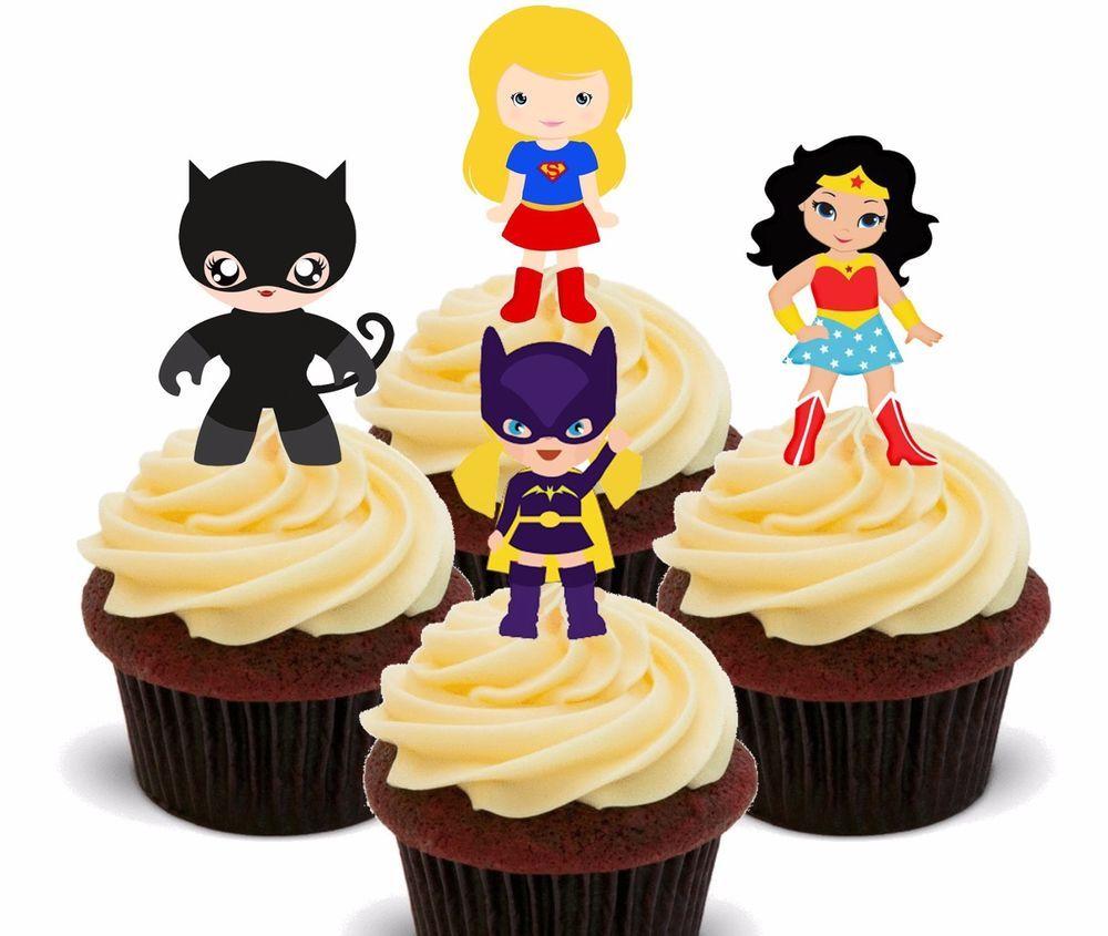 Superhero Girls - Edible Cup Cake Toppers, Fairy Bun Decorations ...