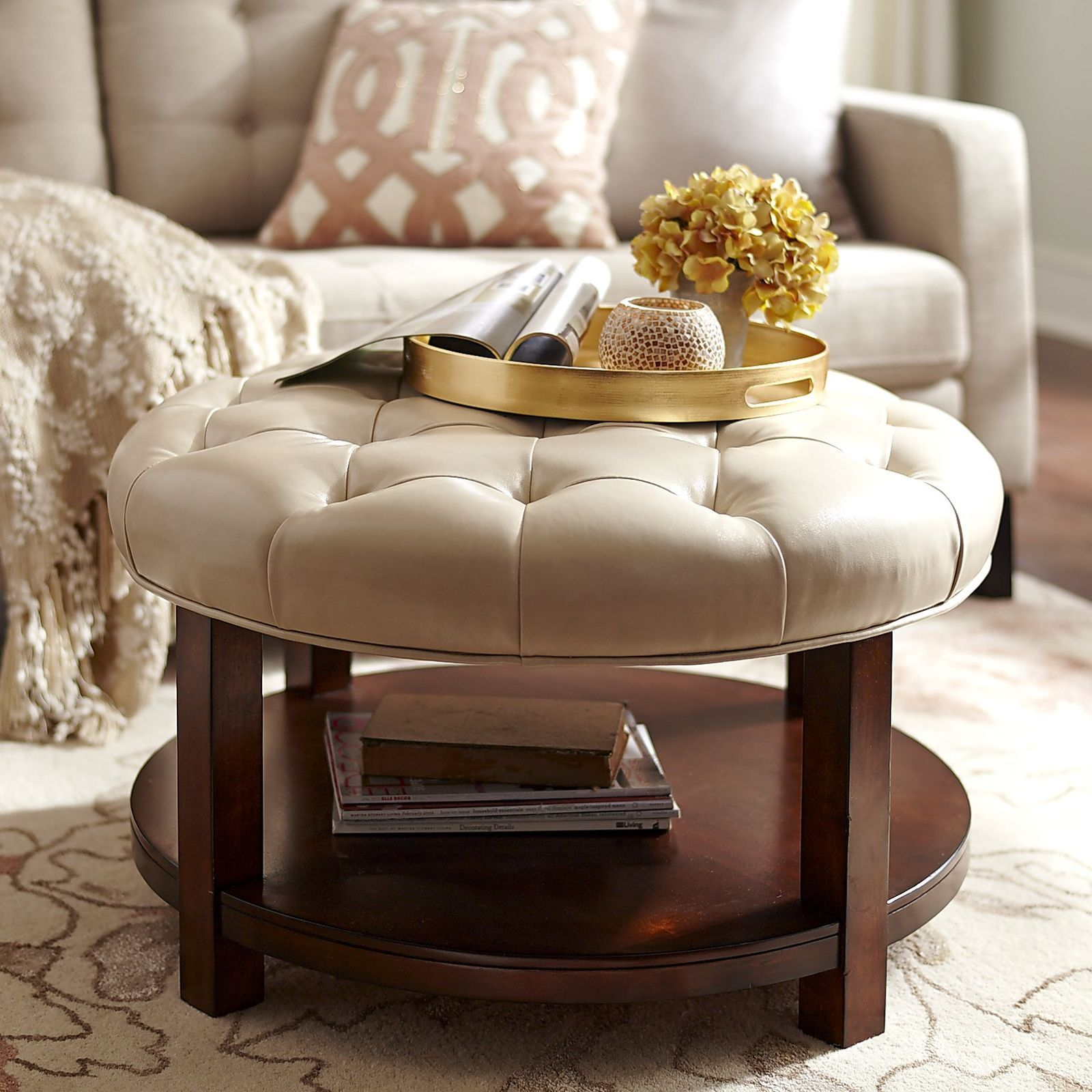 Liard Ivory Round Cocktail Ottoman In 2019 Decor