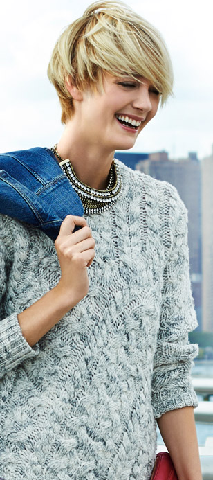 Layer up w a cozy sweater, denim jacket and bling accessories | Piperlime
