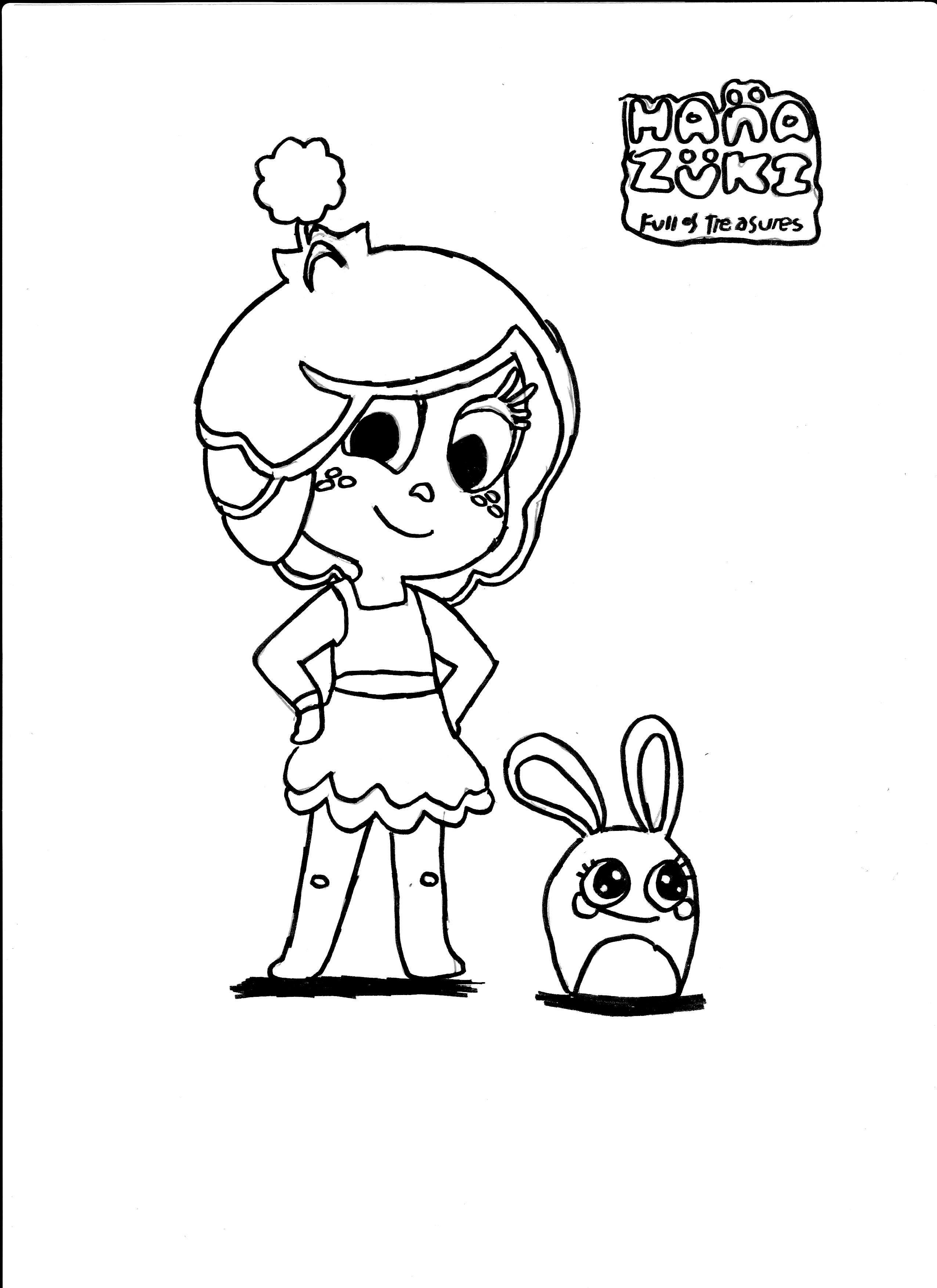 coloriage d'Hanazuki et d'un Emca par Maélie, 9 ans