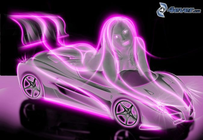 Car, Woman, Neon 191153 (JPEG Image, 674