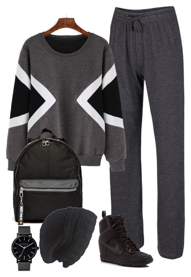 Graphite Knit pants by polishdiva1 on Polyvore featuring Champion, NIKE, The Horse and Laundromat