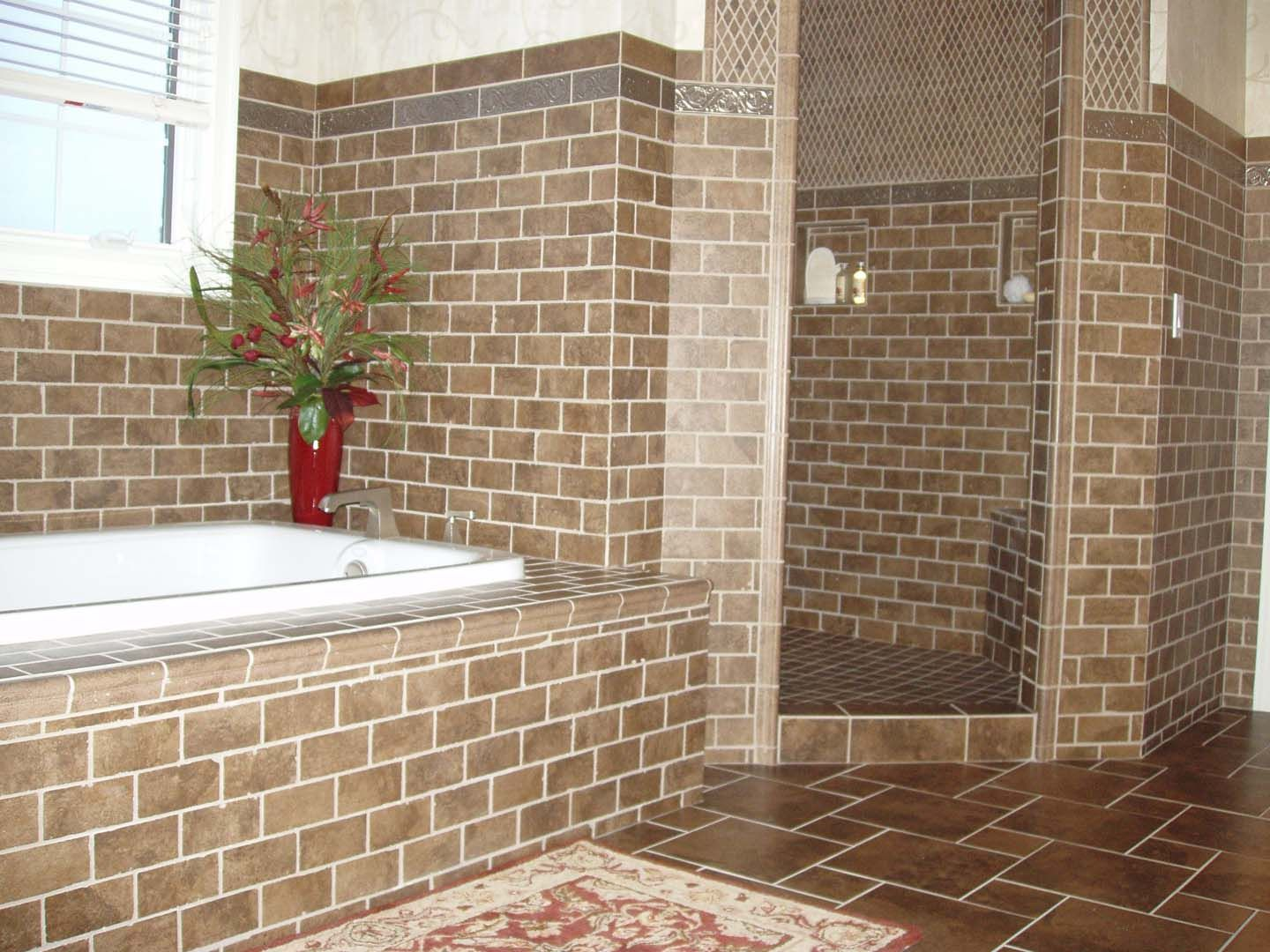 Custom Tiled Soaking Tub with Separate Walk In Shower. Custom Tiled Soaking Tub with Separate Walk In Shower   Bathroom