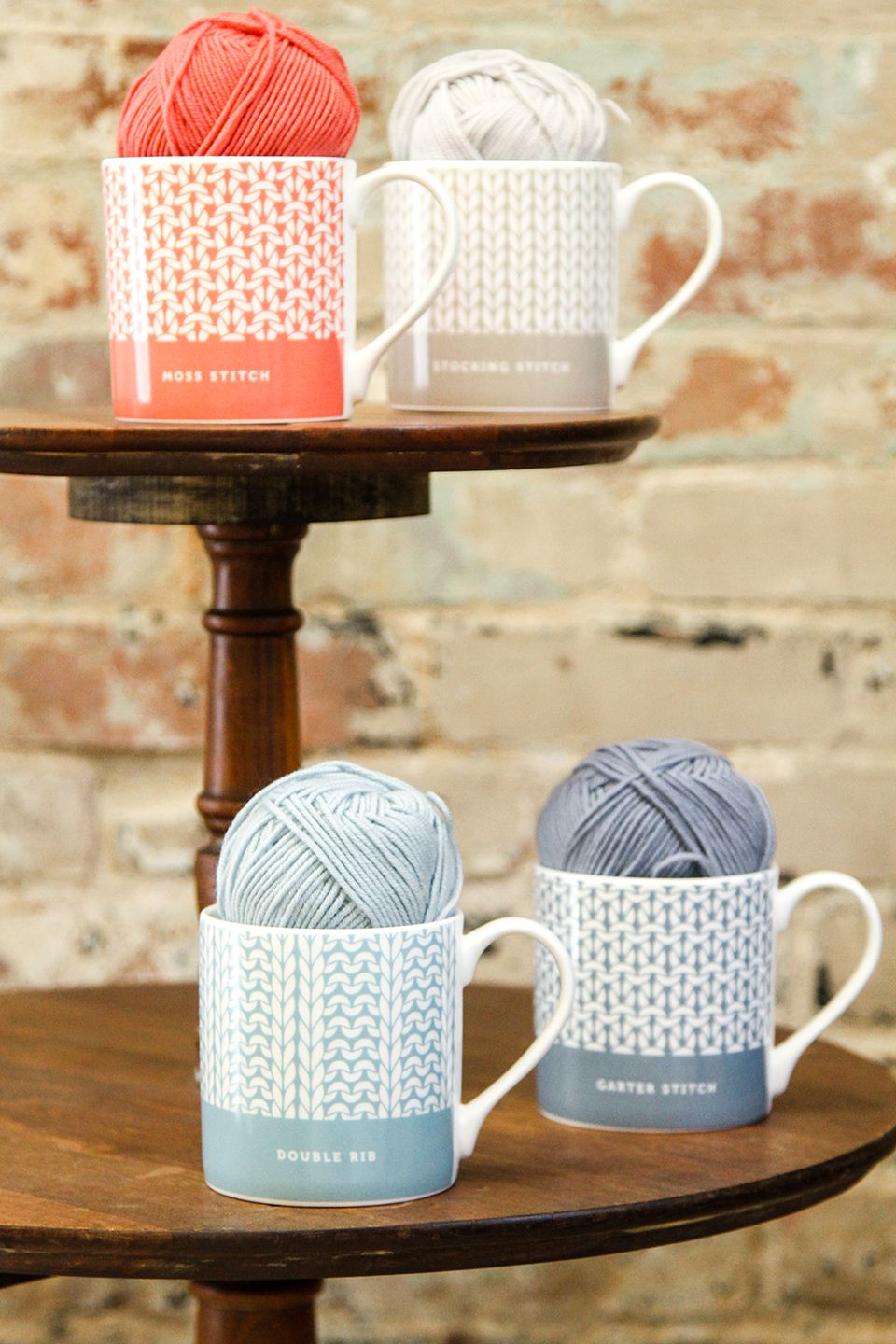 Stitch Mugs from Debbie Bliss feature your favorite stitch patterns ...