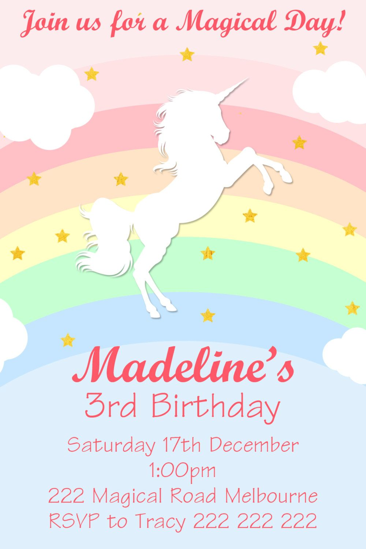 magical unicorn  rainbow birthday invitation diy printing