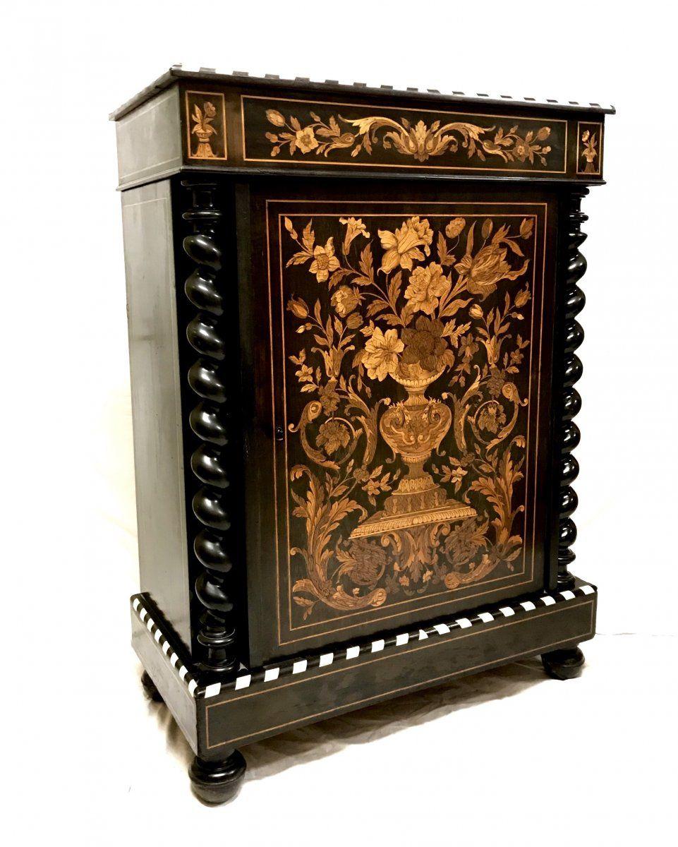 Meuble D Appui En Marqueterie Florales D Epoque Napoleon Iii Cabinets En 2020 Cabinet Marqueterie Meuble
