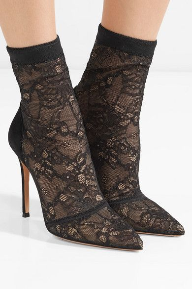 2018 Outlet Real 105 Stretch-lace And Suede Sock Boots - Black Gianvito Rossi XVLuKb