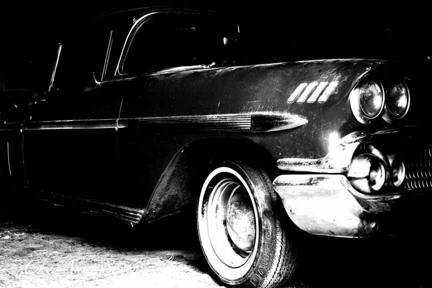 Black and White 1958 Chevy Impala Photography Old Chevrolet Car ...