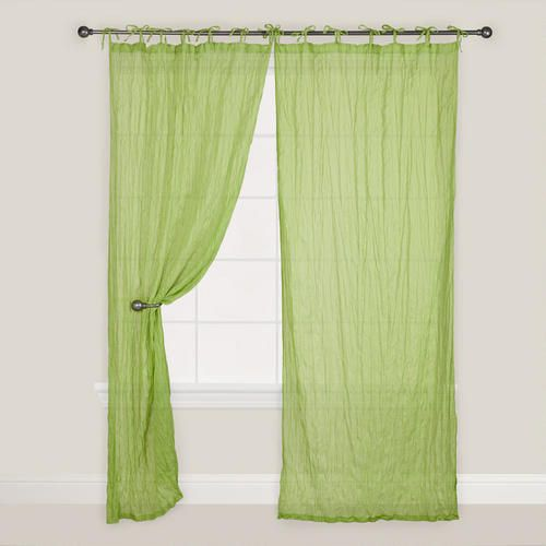 Practically speaking, the Green Crinkle Voile Cotton Curtain provides privacy but allows soft, diffused light to enter, while the tie tops create an informal elegance. Use in the bedroom as a soothing accent or hang in multiples around a four - poster bed.