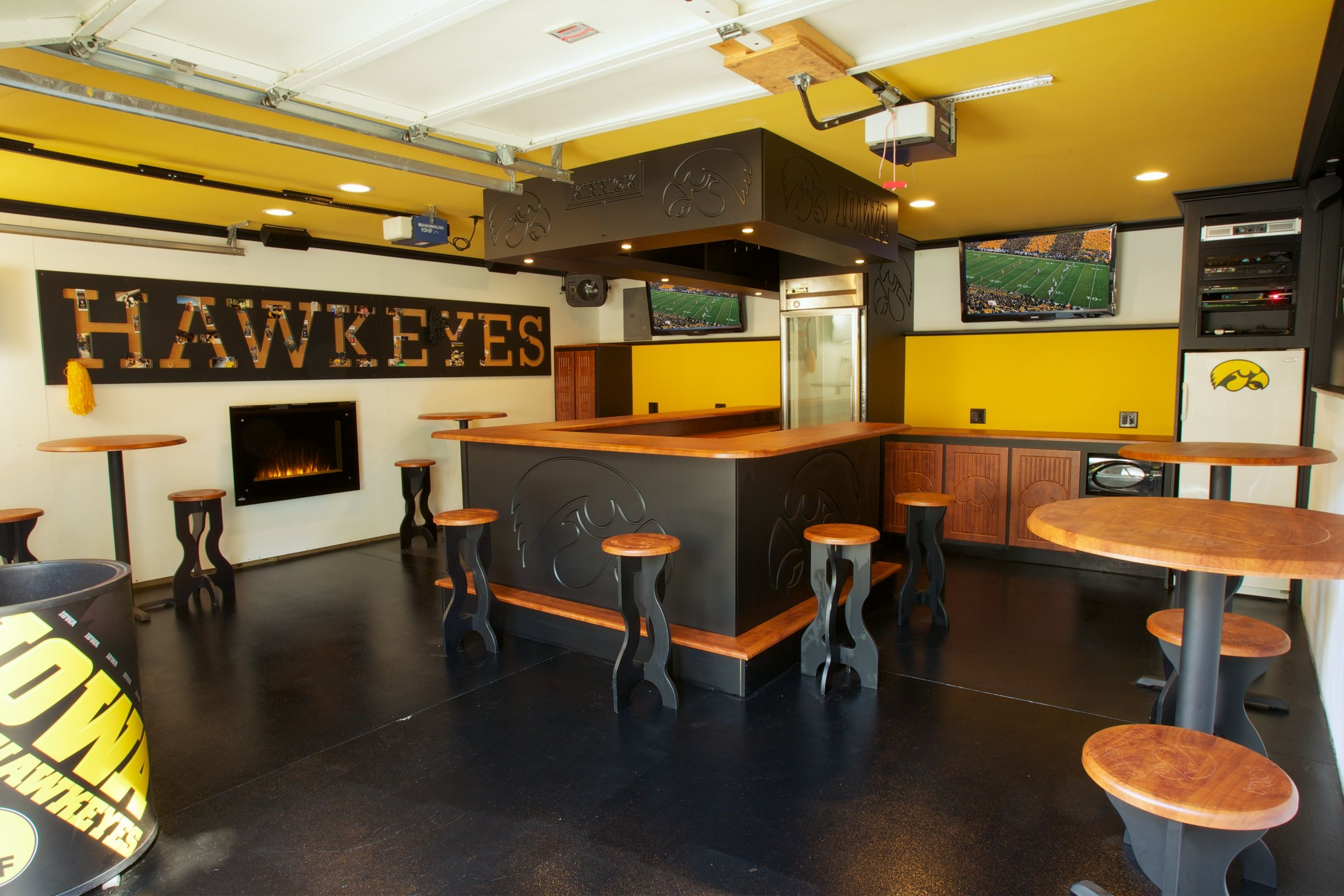 garage product the story behind my hawkeye tailgating man cave cool craft pinterest. Black Bedroom Furniture Sets. Home Design Ideas