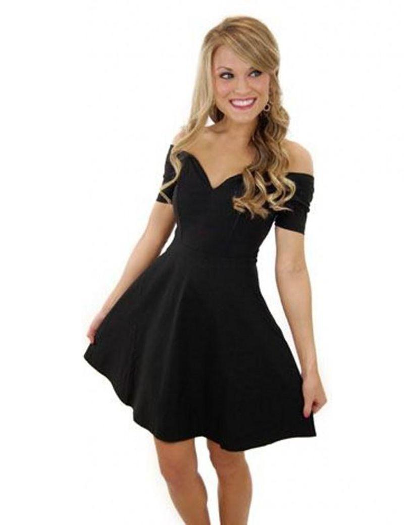 Black Off Shoulder Mini Homecoming Dress | FALL HOMECOMING PARTY ...