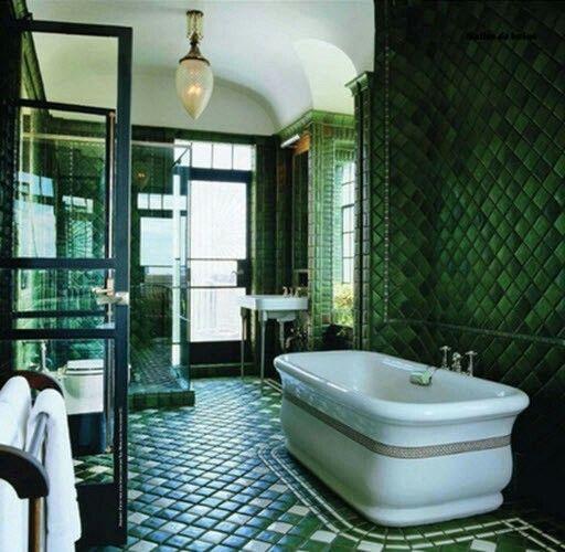 Art Deco Bathroom Decorating Bathroom Bathroom Tile Designs Tiles - Art-deco-green-bathroom-tiles