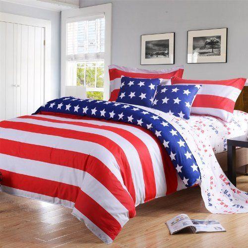 Patriotic Bedding Beautiful American Flag Comforter Sets Duvet